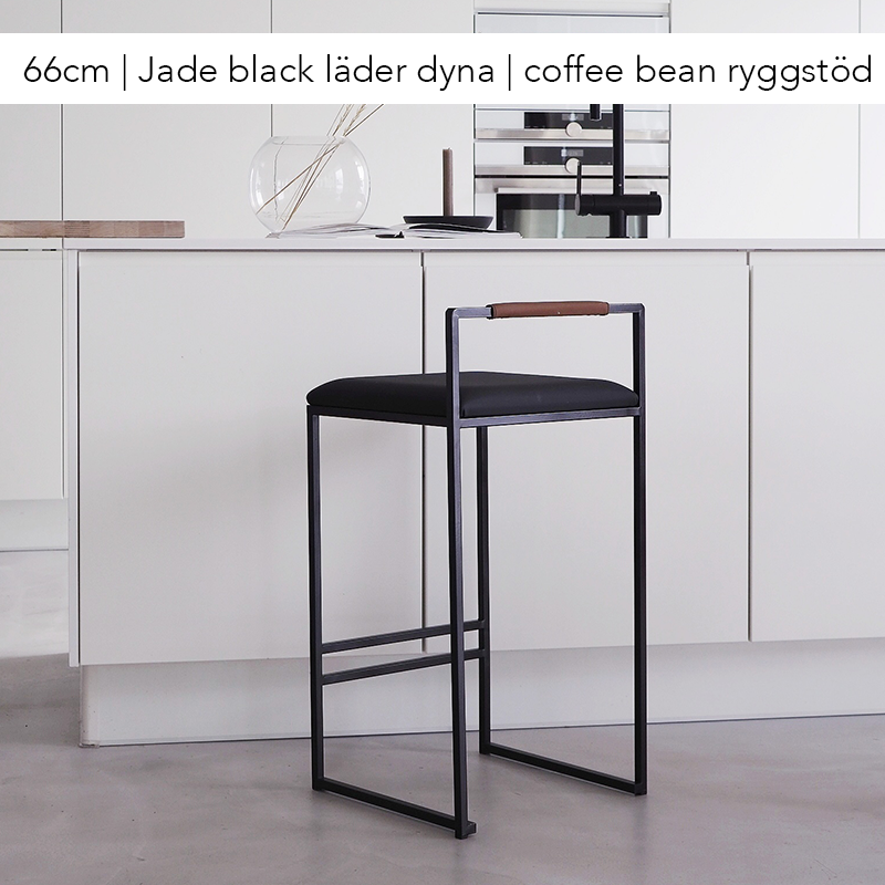Bar chair, bar stool, black leather, black bar chair