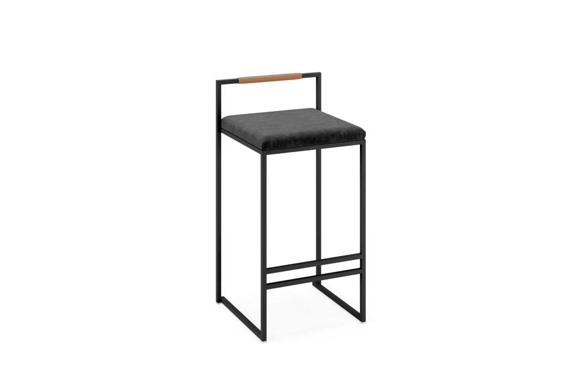 barstol sammet svart