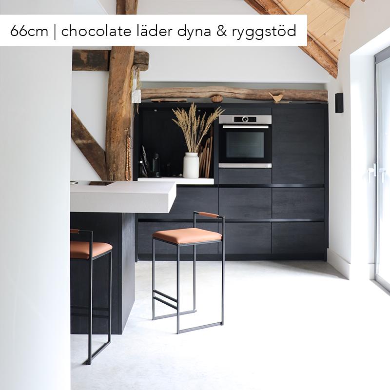 Freja bar chair - bar stool - barstool - brown leather
