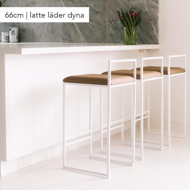 Bar chair, bar stool, white latte leather, white bar chair