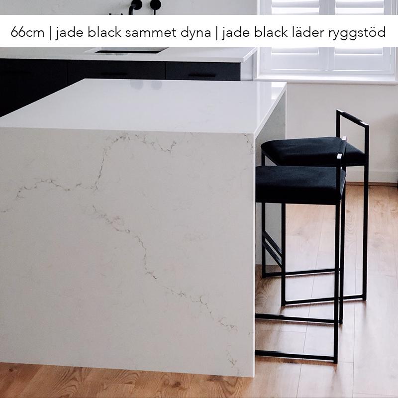 Freja barstol - by Crea® - jade black sammet - jade black läder