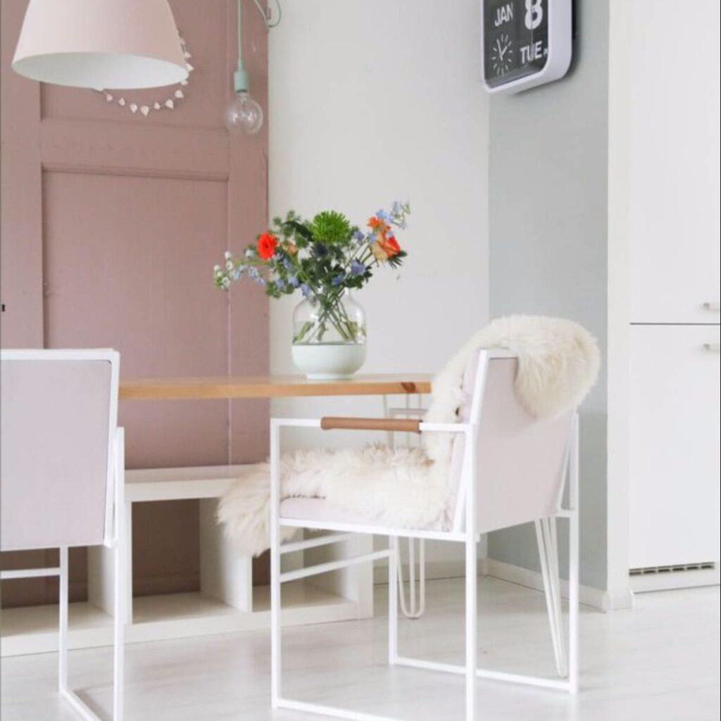 Sella matstol - chair - chaise - stuhl - light pink sammet - velvet - fløyel - velours - velvet